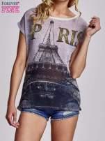 Beżowy t-shirt z motywem Wieży Eiffla