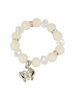 Biała Bransoletka koralikowa z zawieszką w kształcie motylka                                  zdj.                                  2