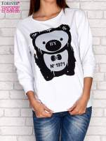 Biała bluza z nadrukiem pandy                                                                          zdj.                                                                         1