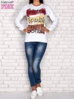 Biała bluza z napisem GLITTER SPARKLE SHINE                                  zdj.                                  4