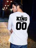 Biała bluzka męska z nadrukiem na plecach KING dla par                                  zdj.                                  1