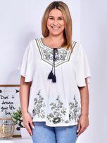 Biała bluzka w etniczne hafty PLUS SIZE                                  zdj.                                  1