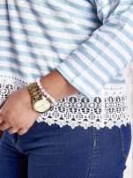 Biała bluzka w paski z koronką PLUS SIZE