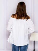 Biała bluzka z wiązaniami na rękawach                                  zdj.                                  2
