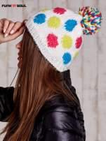 Biała czapka w kolorowe grochy z pomponem FUNK N SOUL                                  zdj.                                  2