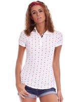 Biała damska koszulka polo w serduszka                                  zdj.                                  1