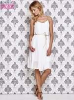 Biała grecka sukienka ze złotym paskiem                                  zdj.                                  2