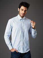 Biała koszula męska o prostym kroju w drobny wzór                                  zdj.                                  5