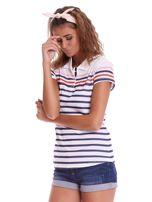 Biała koszulka polo w paski                                  zdj.                                  3