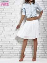 Biała plisowana spódnica do kolan                                  zdj.                                  3