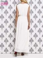 Biała sukienka maxi z pagonami z dżetów                                  zdj.                                  4