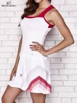 Biała sukienka sportowa z czerwonymi wstawkami                                  zdj.                                  3