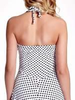 Biała sukienka w groszki z wiązaniem na szyi                                  zdj.                                  6
