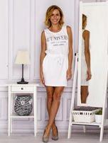 Biała sukienka z troczkami                                  zdj.                                  4