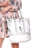 Biała torba w kwiaty ze wstawką crocodile skin                                  zdj.                                  2