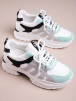 Białe buty sportowe ze skórzanymi miętowymi wstawkami                                   zdj.                                  2