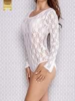 Białe koronkowe body damskie z długim rękawem                                  zdj.                                  3