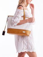 Biało-brązowa torba shopper z eko skóry z odpinanym paskiem                                  zdj.                                  4