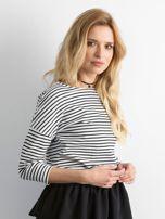 Biało-czarna bluzka damska w paski                                  zdj.                                  3