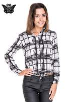 Biało-czarna koszula w kratę wiązana na dole                                  zdj.                                  1