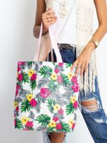 Biało-różowa torba w egzotyczne wzory                                  zdj.                                  1