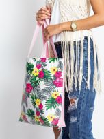 Biało-różowa torba w egzotyczne wzory                                  zdj.                                  3