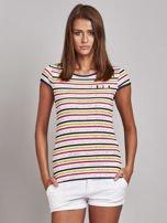 Biało-różowy t-shirt w kolorowe paski                                   zdj.                                  1