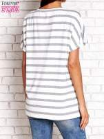 Biało-szary t-shirt w paski z napisem DAYDREAM NATION                                  zdj.                                  2