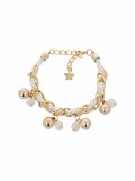 Biało - złota bransoletka z zawieszkami