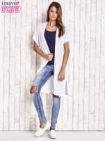 Biały długi sweter z krótkim rękawem                                  zdj.                                  4
