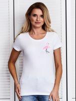 Biały t-shirt damski z motywem flaminga                                  zdj.                                  1