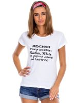 Biały t-shirt damski z napisem                                  zdj.                                  1