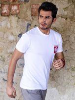 Biały t-shirt męski z godłem                                  zdj.                                  2