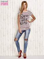 Biały t-shirt w czerwone paski z napisem SUPER DRY GIRL                                  zdj.                                  4