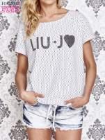 Biały t-shirt w drobne groszki z napisem LIU J❤                                  zdj.                                  1