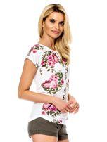 Biały t-shirt w kwiaty                                  zdj.                                  3