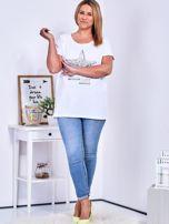 Biały t-shirt z błyszczącą gwiazdą PLUS SIZE                                  zdj.                                  4