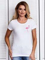 Biały t-shirt z flamingiem                                  zdj.                                  1