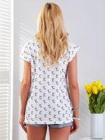 Biały t-shirt z kocim motywem                                  zdj.                                  2