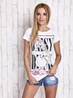 Biały t-shirt z nadrukiem DAISY                                  zdj.                                  5