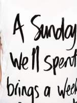 Biały t-shirt z napisem A SUNDAY                                  zdj.                                  8