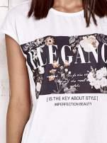 Biały t-shirt z napisem ELEGANCE                                  zdj.                                  5