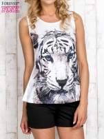 Biały top z motywem tygrysa                                  zdj.                                  1