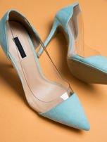Błękitne zamszowe szpilki Evening w szpic z przezroczystą cholewką                                  zdj.                                  1