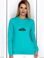 Bluza damska z nadrukiem znaku zodiaku LEW miętowa                                  zdj.                                  1
