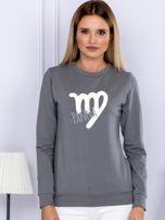 Bluza damska z motywem znaku zodiaku PANNA szara                                  zdj.                                  1