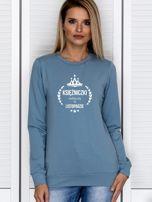 Bluza damska KSIĘŻNICZKA z nadrukiem niebieska                                  zdj.                                  1