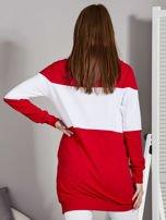 Bluza damska modułowa z luźnym kołnierzem biało-czerwona                                  zdj.                                  2