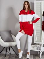 Bluza damska modułowa z luźnym kołnierzem biało-czerwona                                  zdj.                                  4