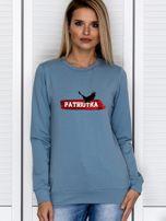 Bluza damska patriotyczna PATRIOTKA z orłem niebieska                                  zdj.                                  1